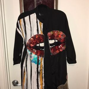 Tops - Black sequin cardigan